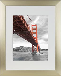 Frametory, 11x14 Aluminum Gold Photo Frame with Ivory Color Mat for 8x10 Picture & Real Glass, Metal Picture Frame Collection (11x14)