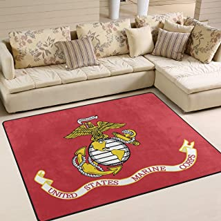Flag of The United States Marine Corps Area Rug 5'x 7', Educational Polyester Area Rug Mat for Living Dining Dorm Room Bedroom Home Decorative
