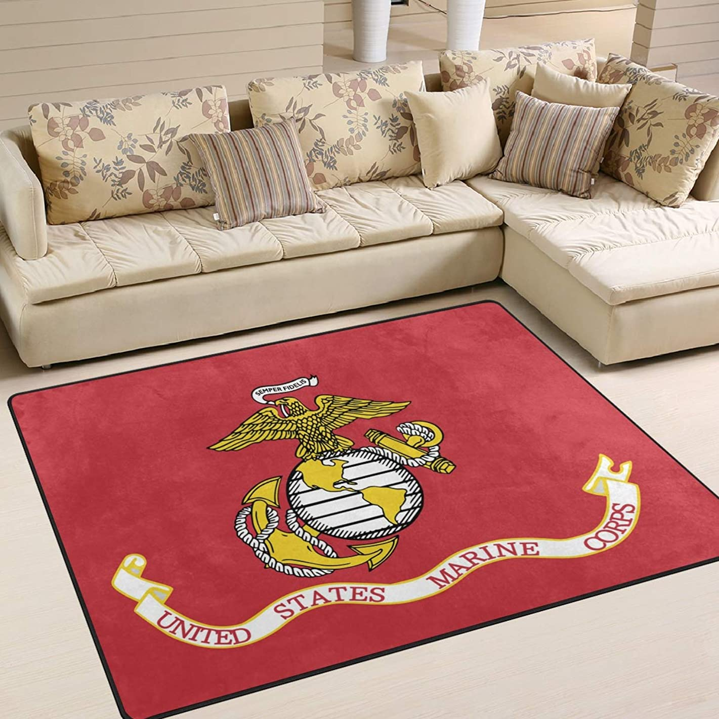 Flag of The United States Marine Corps Area Rug 4'x6', Educational Polyester Area Rug Mat for Living Dining Dorm Room Bedroom Home Decorative