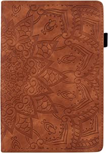 Pefcase iPad 9.7 inch 2018 2017 Case/iPad Air/iPad Air 2 /ipad 9.7 Pro 2016 Cover, Premium PU Leather Folio Stand Wallet Case for Apple iPad 9.7 Mandala Flower - Brown