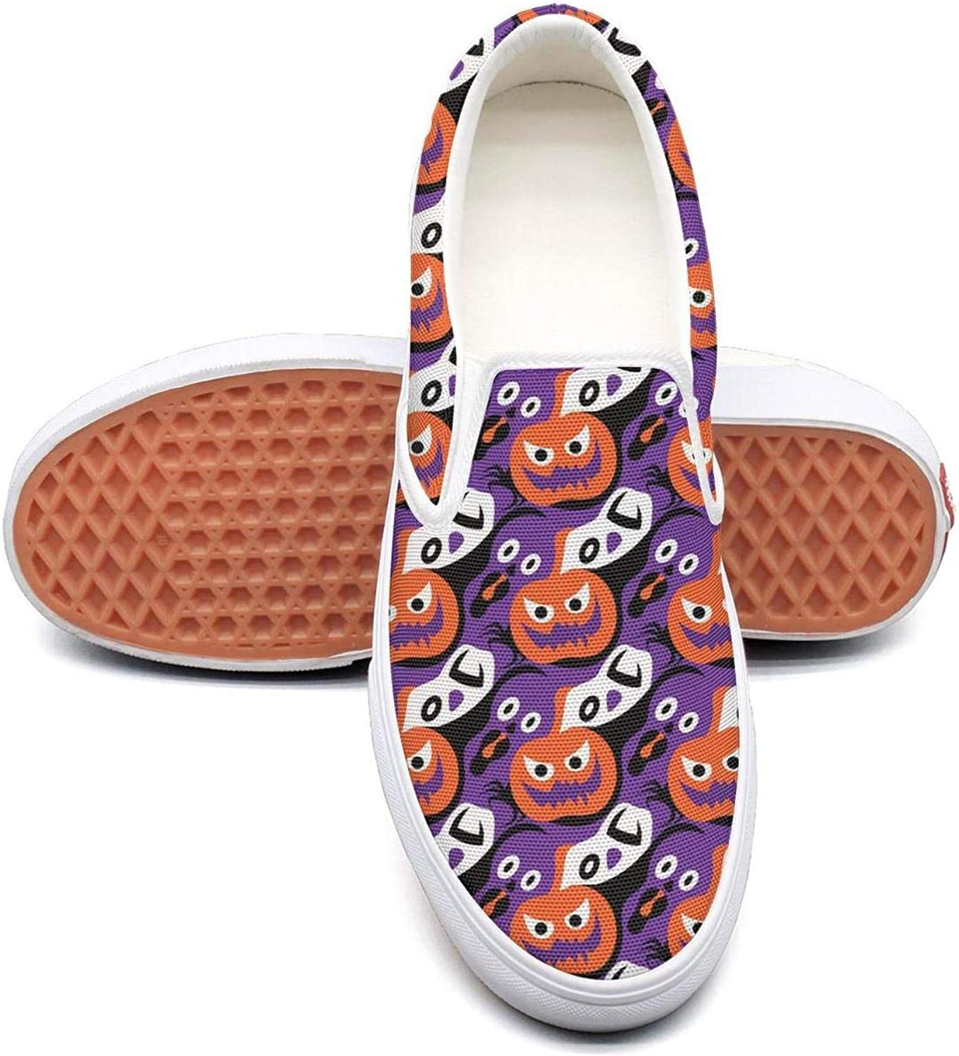 Sernfinjdr Women's Funny Halloween Pumpkin Fashion Casual Canvas Slip on shoes colorful Cycling Sneaker shoes