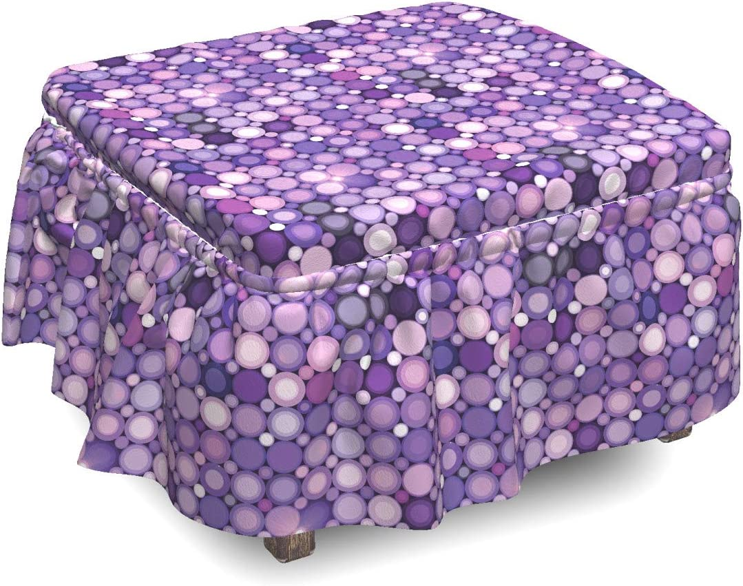 Free shipping on posting reviews Ambesonne Modern Ottoman Cover Geometric Piec 2 Denver Mall Circles Violet