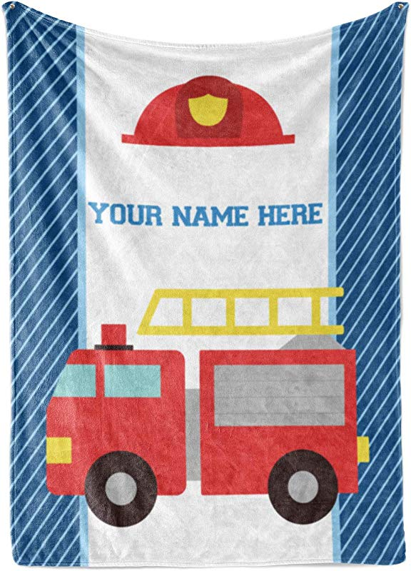 Personalized Custom Firetruck Fleece And Sherpa Throw Blanket For Boys Girls Kids Baby Toddler Fire Truck Blankets Perfect For Bedtime Bedding Crib Liner Or As Gift 50 X 60 Child