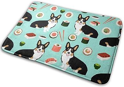 """Tricolored Corgi Dogs and Sushi Design - Mint_28405 Doormat Entrance Mat Floor Mat Rug Indoor/Outdoor/Front Door/Bathroom Mats Rubber Non Slip 23.6"""" X 15.8"""""""