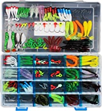 SKYSPER Fishing Lure Sets with Tackle Box, Sea River Fishing Artificial Baits Kits Includes Spinners, Soft Plastic Worms, Crank Bait, Jigs, Luminous Lures, Topwater Lures, and Accessories