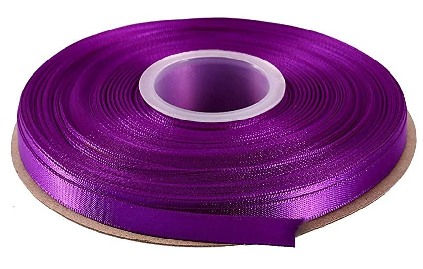 Duoqu 1/2 inch Wide Double Face Solid Satin Ribbon 50 Yards Roll Multiple Colors (Purple)