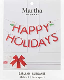 Martha Stewart 30068367 Chipboard Happy Holidays Bunting Garland, Red, Green