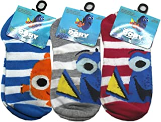 Finding Dory Nemo and Dory Assorted Color Striped Socks (3 Pairs, Size 6-8.5)