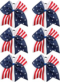 Oaoleer 7In USA Cheer Hair Bows Girls Grosgrain Ribbon Boutique Large Cheerleader Bow with Elastic Tie Band For Teens Kids Toddlers 6 Pcs (USA Cheer Bow F)