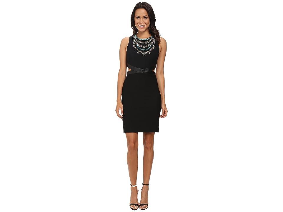 Nicole Miller Necklace Cutout Queenie Dress (Black/Multi) Women