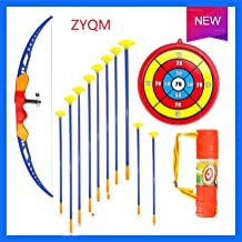 ZYQM Bow and Arrow for Kids- Archery Bow with 10 Arrows, Target, and Barrel - for Children Above 3 Years of Age