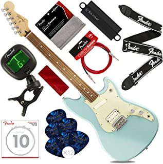 Fender Duo-Sonic HS 6-String Electric Guitar w/Pau Ferro, Daphne Blue with Tuner, Strings, Picks, Strap & Massaging Shoulder Strap Attachment Deluxe Bundle