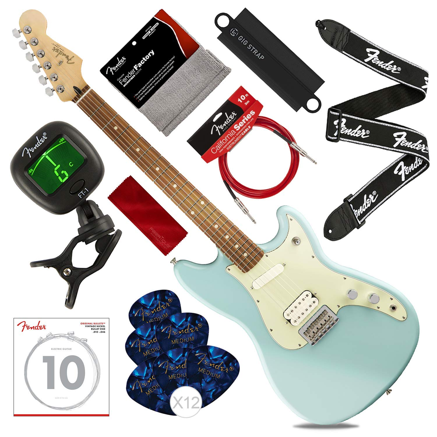 Cheap Fender Duo-Sonic HS 6-String Electric Guitar w/Pau Ferro Daphne Blue with Tuner Strings Picks Strap & Massaging Shoulder Strap Attachment Deluxe Bundle Black Friday & Cyber Monday 2019