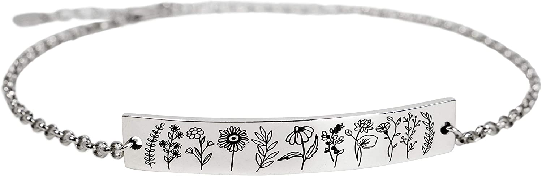 S925 Sterling Silver Wildflower Nature Bracelets for Women Girls