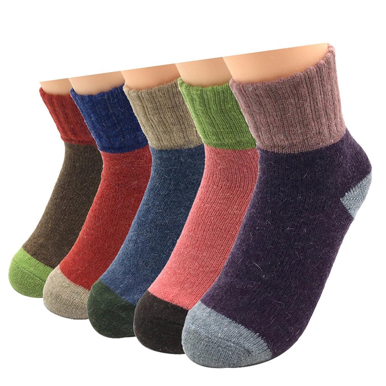 Sumery 防寒 カシミヤ制 厚い女性用靴下 キャンディカラー 健康 快適 5足セット 礼装用