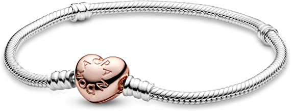 PANDORA Jewelry - Moments Heart Clasp Snake Chain Charm Bracelet for Women in PANDORA Rose and Sterling Silver with No Stone