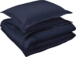 Amazon Basics Premium Embroidered Hotel Stitch Duvet Cover Set - Full or Queen, Navy Blue