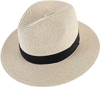 Men Wide Brim Straw Foldable Roll up Hat Fedora Summer Beach Sun Hat UPF50+