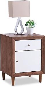 Baxton Furniture Studios Harlow Mid-Century Wood 1 Drawer and 1 Door Nightstand, Medium, White and Walnut