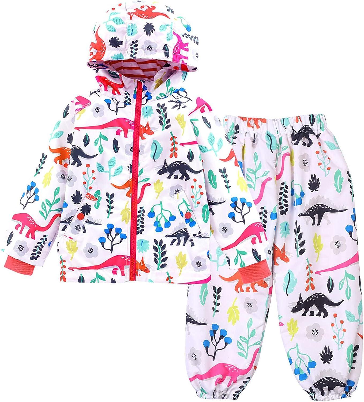 Nice Clothes Raincoats for Kids Baby Boys Girls Raincoat Waterproof Hooded Jacket Outwear Dinosaur Print Coat+Pants Suit 2PC T04