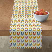 Roostery Tablerunner, Hens Chickens Farmhouse Chicks Farm Animal Spring Watercolor Hen Chicken Nursery Rainbow Colorful Easter Print, Cotton Sateen Table Runner, 16in x 90in