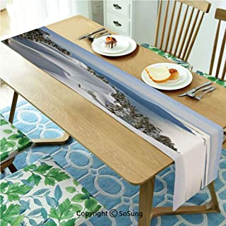Winter Table runner for Farmhouse Dining Coffee Table Decorative,Pacific Ocean Meets the Mountains Vancouver British Columbia Canada Wilderness Scenery Decorative 16