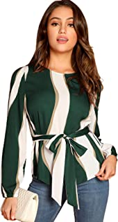 Women's Self Belted Striped Print Casual Blouse Top Shirt