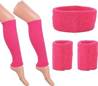 Jomnvo 80s Costumes Accessories 80s Women Fancy Dress Accessories Set Leg Warmers Knit Neon Headband Wristbands for 1980s ...