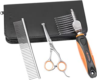 AEXYA - Premium Dog Dematting Tools Comb Scissors Set - Undercoat Tangles Deshedding Tool for Cats and Dogs � Safe and Easy Mats Remover Rake (Dematting)
