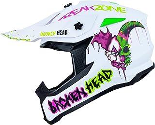 Broken Head FreakZone Cross-Helm Weiß-Grün-Pink matt – Motocross – MX – Quad – Supermoto M 57-58 cm