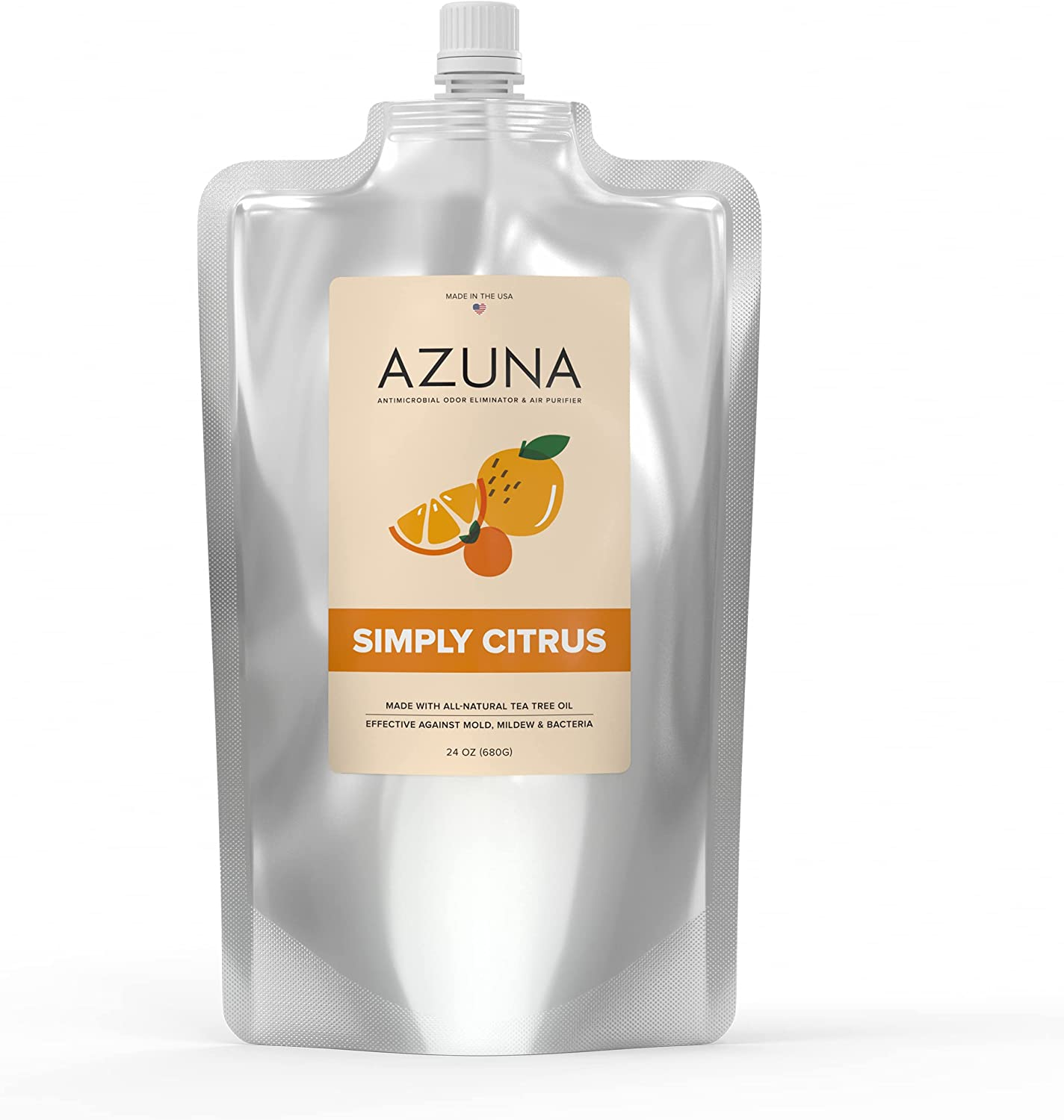 Azuna All-Natural Air Purifier Gel Refill Pouch, Plant-Based Air Freshener for Home with Tea Tree Oil for Pet, Smoke, and Other Strong Odors, 24 ounces, Simply Citrus