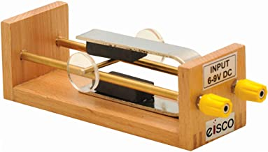 Force on Conductor in Magnetic Fields Apparatus - Strong U-Shaped Magnet, 2 Brass Rails & 4mm Socket Terminals in a Wooden Frame - Eisco Labs