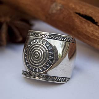925 Sterling Silver Mayan Sun Cigar Band Rings Inca Aztec Calendar Ring Stylish Boho Hippie Jewelry Mexican Native American Tribal Style Gift for Women Handmade Unique Design