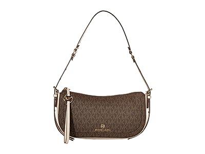MICHAEL Michael Kors Camden Extra Small Pouchette (Brown/Soft Pink) Shoulder Handbags