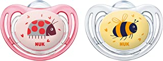 NUK Freestyle Silicone Soother, Orthodontic Shape, Size 2 (6-18m) 2 Pack Girl