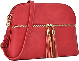 MKP Lightweight Multi Zipper Pockets Medium Fashion Crossbody Bags for Women Messenger Purse Travel Shoulder Bags with Tassel