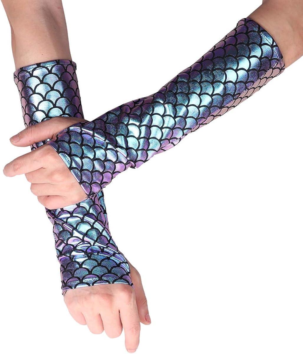 iiniim Ladies Women Mermaid Fish Scale Printed Long Gloves Hand Warmer