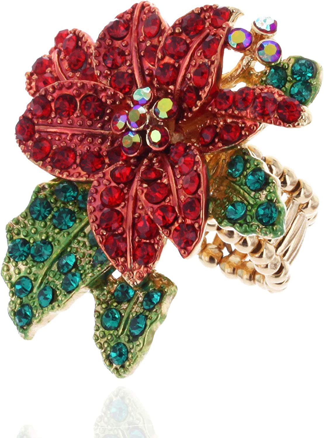 Poinsettia Embellished Rhinestone Stretch Mail order Ring Over item handling ☆ and Red Green in