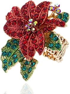 SP Sophia Collection Poinsettia Embellished Rhinestone Stretch Ring in Red Green and Gold