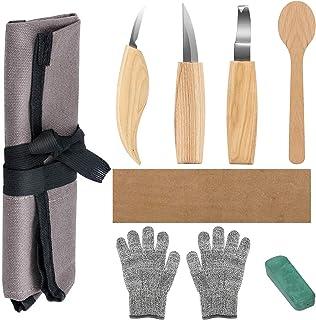 Powcan Juego de herramientas de tallado de madera, juego de cinceles de madera, cuchillo de tallar para principiantes