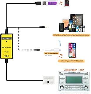 Car CD USB Audio Aux Adapter Digital Music Cd Changer 3.5mm Interface for VW 12pin 2009-2011 Beetle 2003-2011 Jetta 2004-2011 Passat 2005-2011 Polo 2007-2011 Tiguan Skoda 2007-2011 Octavia