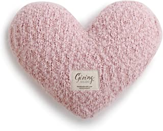 DEMDACO Pale Pink Soft Heart Shaped 10 x 11 inch Plush Polyester Decorative Throw Giving Pillow