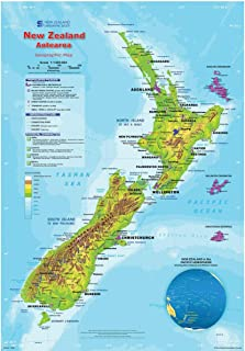 Gifts Delight Laminated 24x34 Poster: Physical Map - Geographic Map of New Zealand