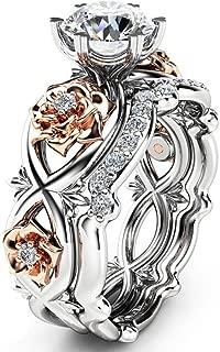 HIRIRI Hot Sale 2018 New Women Diamond Silver & Rose Gold Filed Silver Wedding Engagement Floral Ring Set (10, Silver)