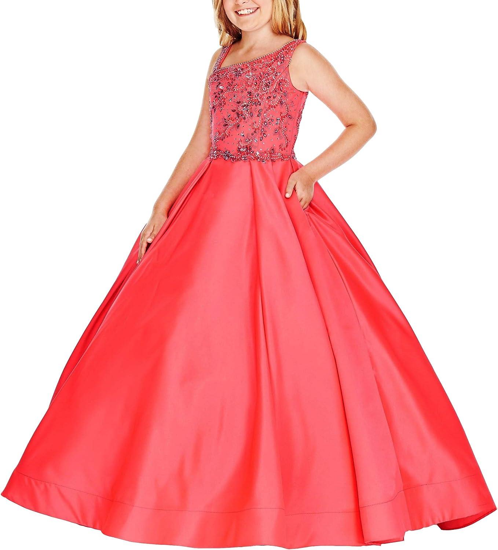 Honeydress Girl's Cold Shoulder Satin Girls Pageant Dresses with Pockets Beading Crystal Flower Girls Dress