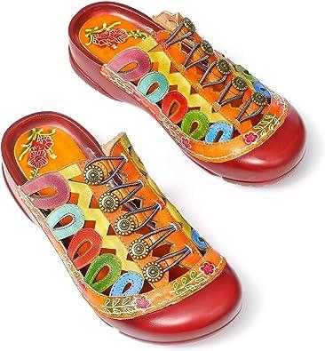 gracosy Kvinnors mulor träskor lädersandaler damer sommar slip-on tofflor ihåliga halkfria lediga promenadskor vintage färgglad blomma rund tå rygglös loafer platta breda fitskor