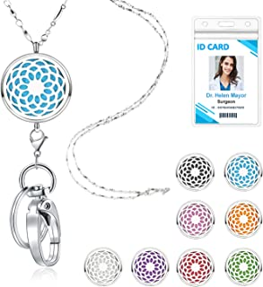 TONY & SANDY Lanyard Necklace Diffuser Aromatherapy Stainless Steel Beaded Chain Necklace Silver for ID Badge Holder and Keys Non Breakaway Essential Oil Pendant Locket for Women Nurse Sunflower