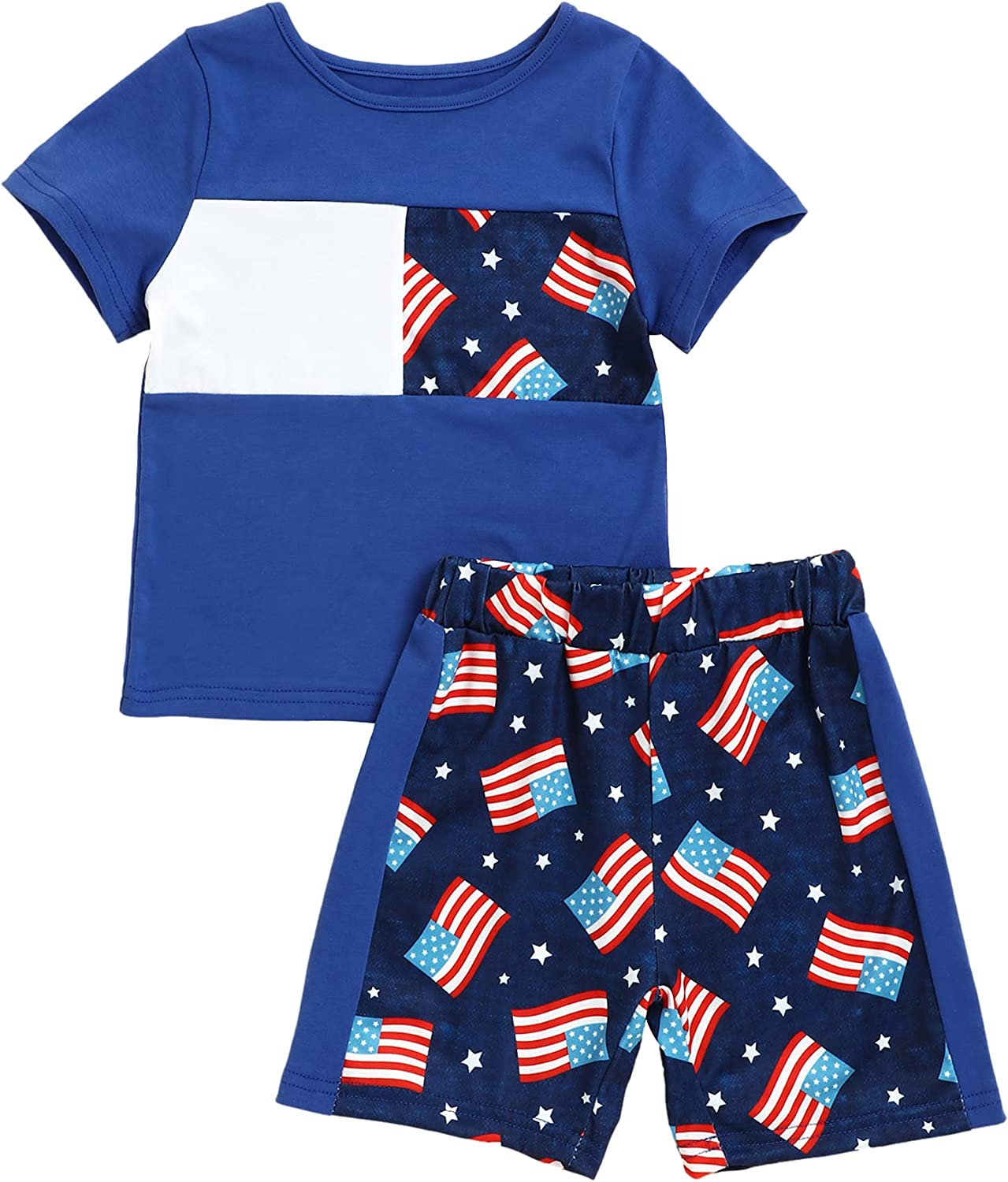 4th of July Outfits Infant Toddler Boy Summer Clothes Sleeveless Vest Top American Flag Print Shorts Outfit