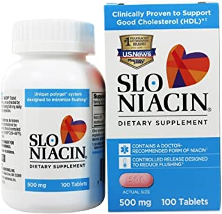 Slo-Niacin Vitamin B3 500 Mg - Slow Release Niacin for Heart Health, Energy Boost, Health Skin, Healthy Blood Sugar Levels...