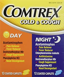 Comtrex Cold & Cough Coated Caplets Day/Night - 24 ct, Pack of 4